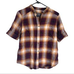 🍋 Pendleton Plaid Short Sleeve Women's Top Shirt